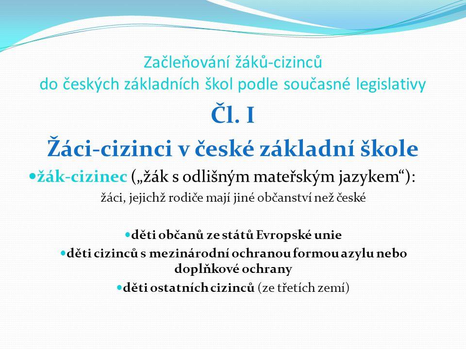 Žáci-cizinci v české základní škole děti občanů ze států Evropské unie