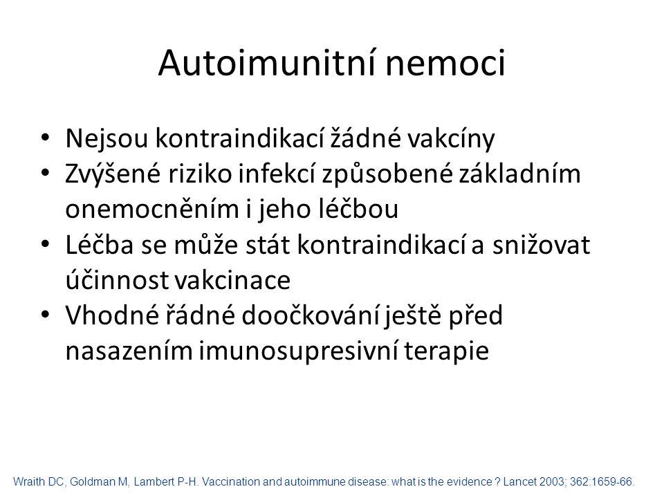 Autoimunitní nemoci Nejsou kontraindikací žádné vakcíny