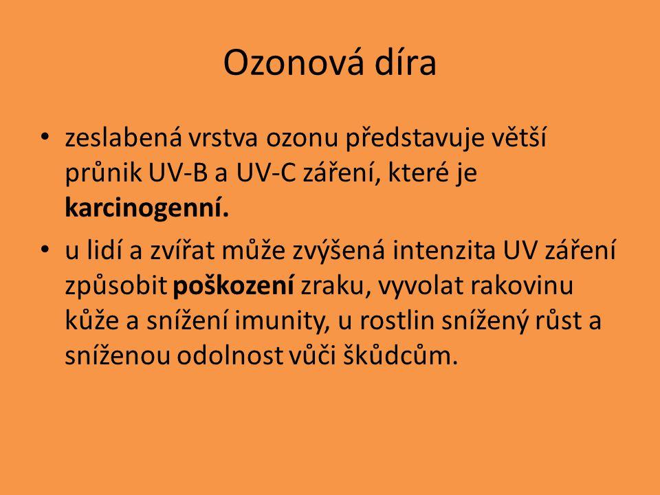 Ozonová díra zeslabená vrstva ozonu představuje větší průnik UV-B a UV-C záření, které je karcinogenní.