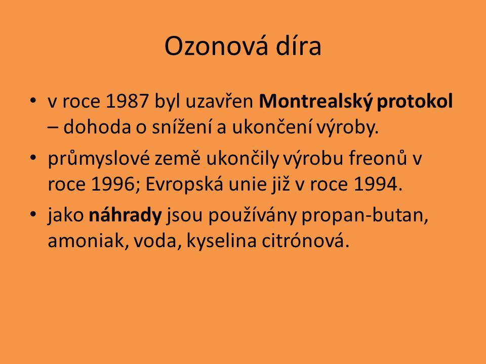 Ozonová díra v roce 1987 byl uzavřen Montrealský protokol – dohoda o snížení a ukončení výroby.