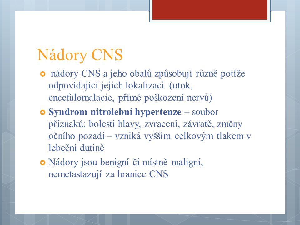 Nádory CNS nádory CNS a jeho obalů způsobují různě potíže odpovídající jejich lokalizaci (otok, encefalomalacie, přímé poškození nervů)