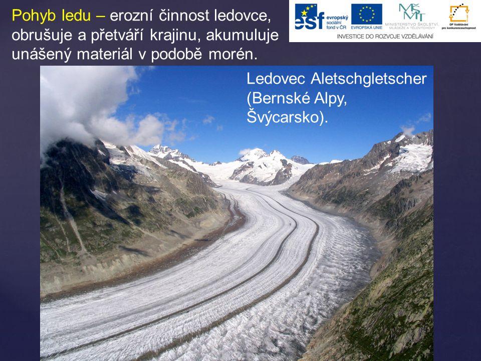 Pohyb ledu – erozní činnost ledovce, obrušuje a přetváří krajinu, akumuluje unášený materiál v podobě morén.