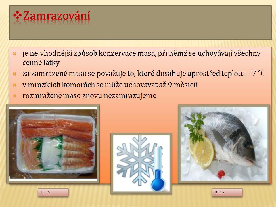 Zamrazování je nejvhodnější způsob konzervace masa, při němž se uchovávají všechny cenné látky.
