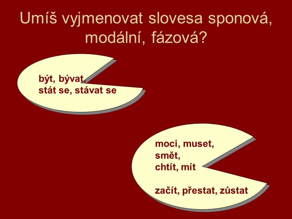 Umíš vyjmenovat slovesa sponová, modální, fázová