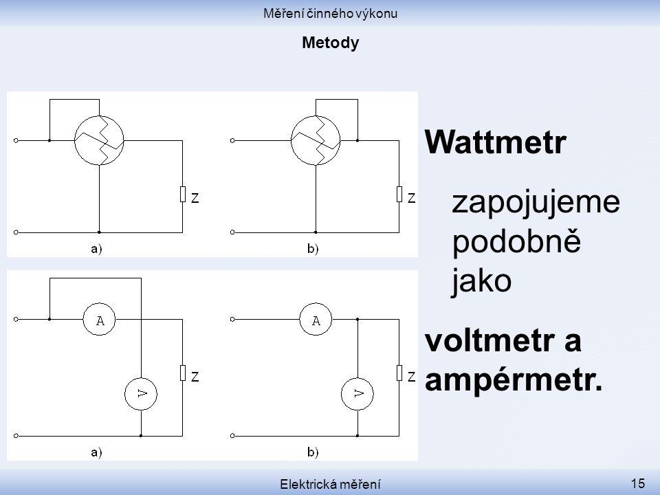 Wattmetr zapojujeme podobně jako voltmetr a ampérmetr. Metody