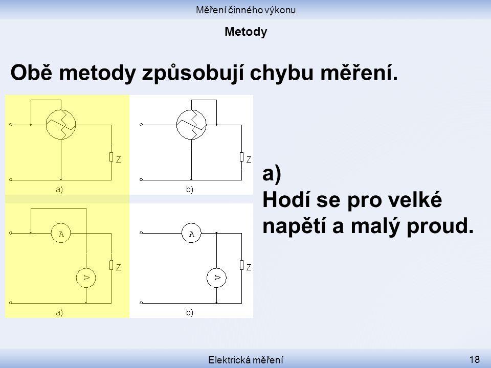 Obě metody způsobují chybu měření.