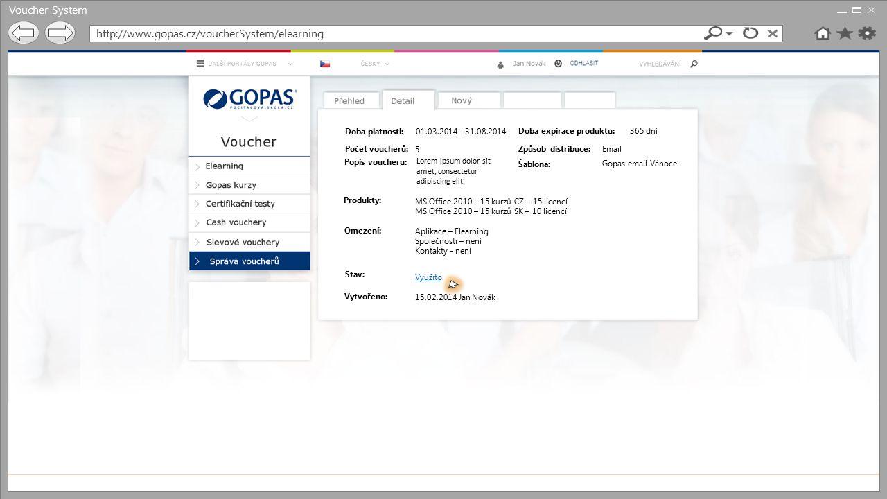 Voucher System http://www.gopas.cz/voucherSystem/elearning