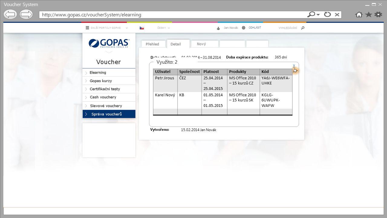 Voucher System http://www.gopas.cz/voucherSystem/elearning Využito: 2
