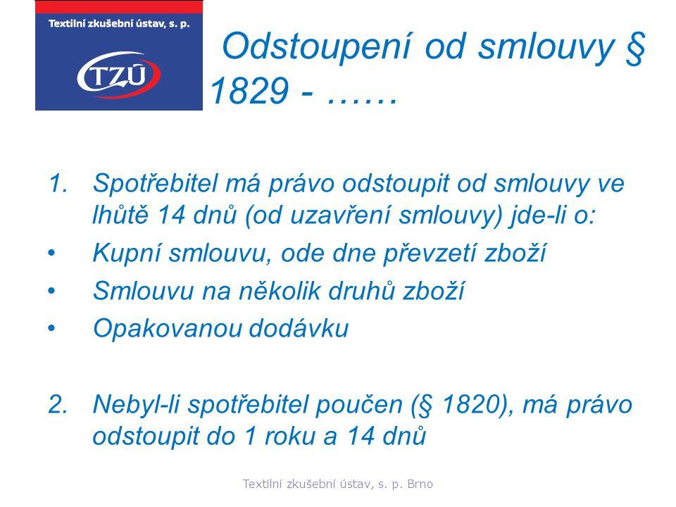 Odstoupení od smlouvy § 1829 - ……