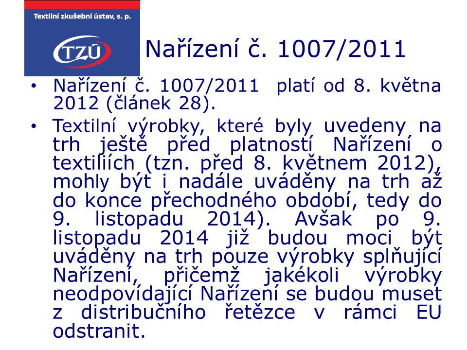 Nařízení č. 1007/2011 Nařízení č. 1007/2011 platí od 8. května 2012 (článek 28).