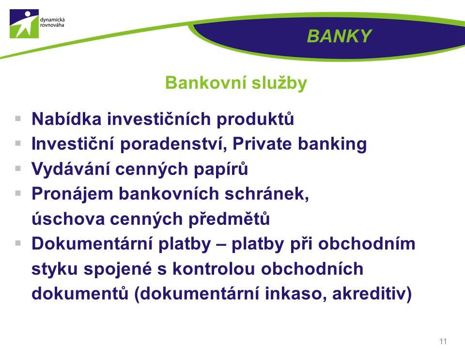 BANKY Bankovní služby. Nabídka investičních produktů. Investiční poradenství, Private banking. Vydávání cenných papírů.