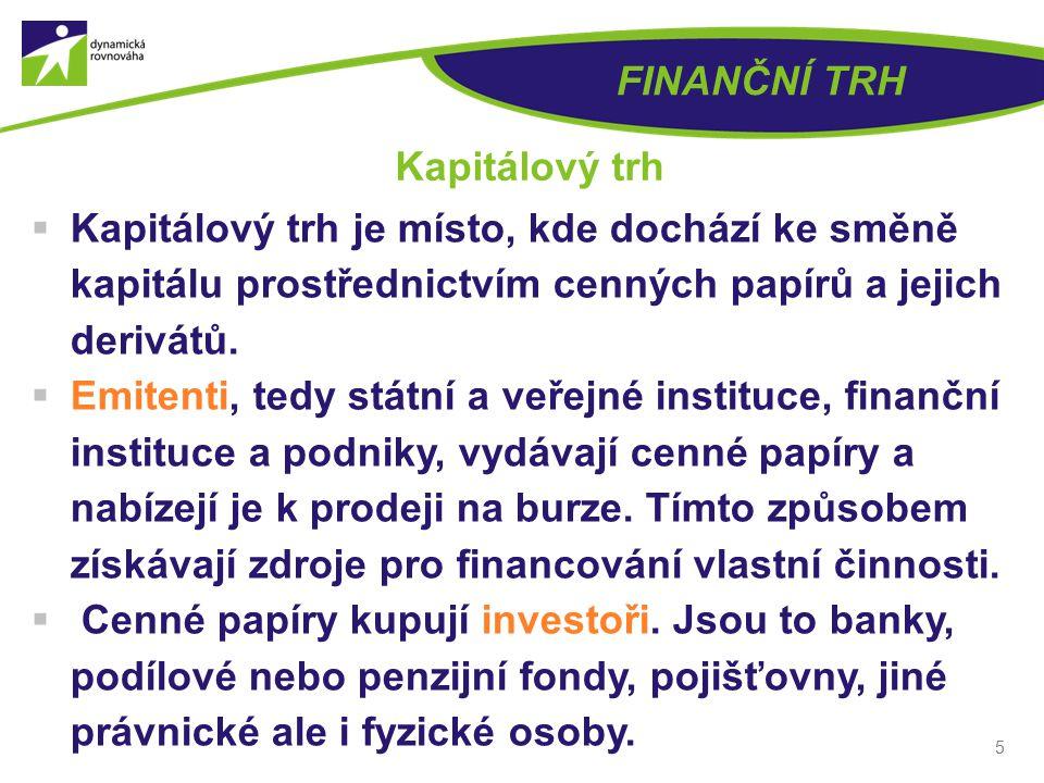 FINANČNÍ TRH Kapitálový trh. Kapitálový trh je místo, kde dochází ke směně kapitálu prostřednictvím cenných papírů a jejich derivátů.
