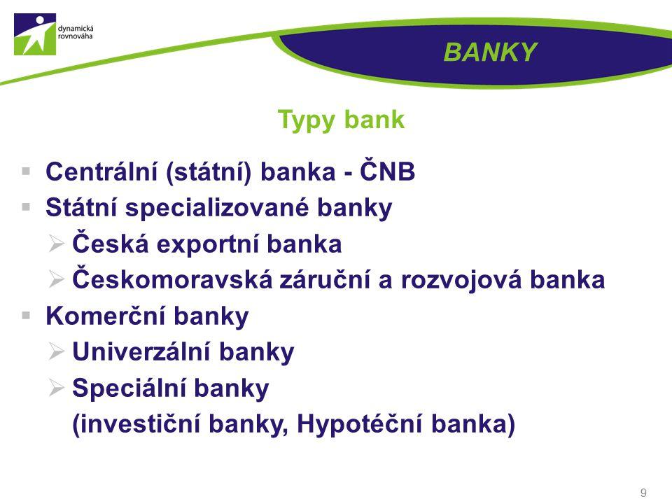 BANKY Typy bank. Centrální (státní) banka - ČNB. Státní specializované banky. Česká exportní banka.