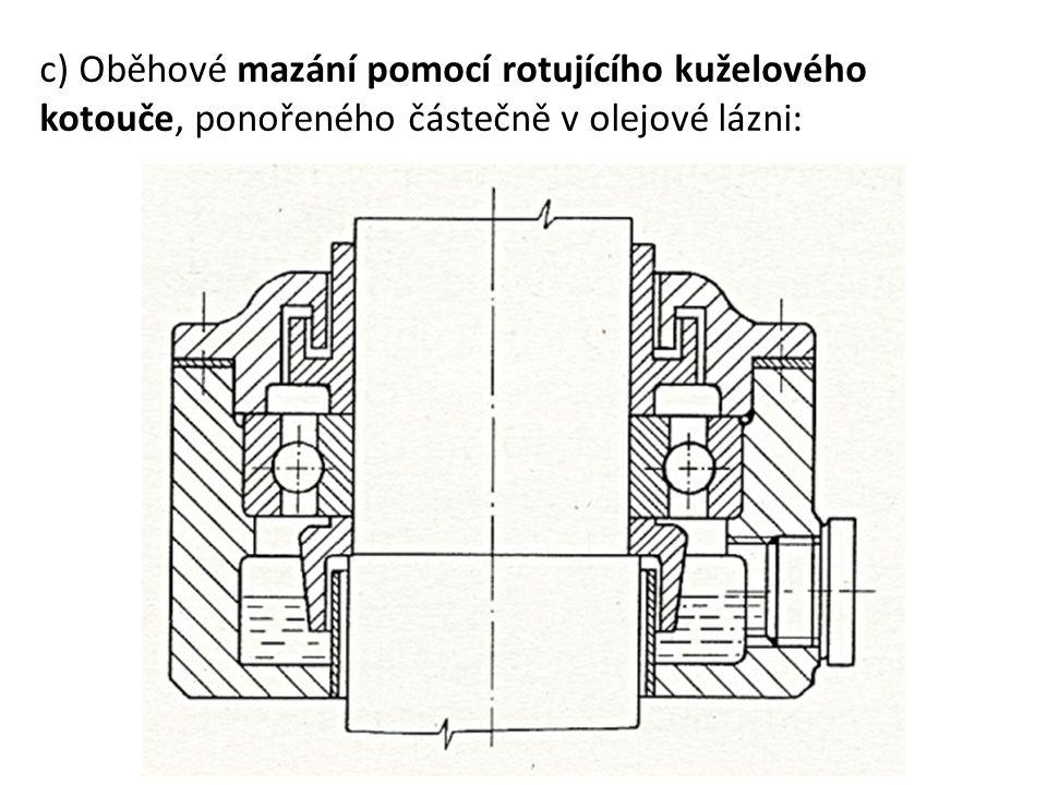 c) Oběhové mazání pomocí rotujícího kuželového kotouče, ponořeného částečně v olejové lázni: