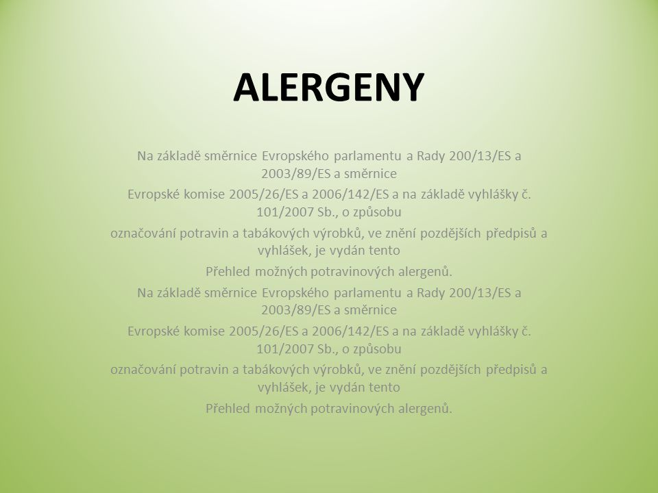 Přehled možných potravinových alergenů.