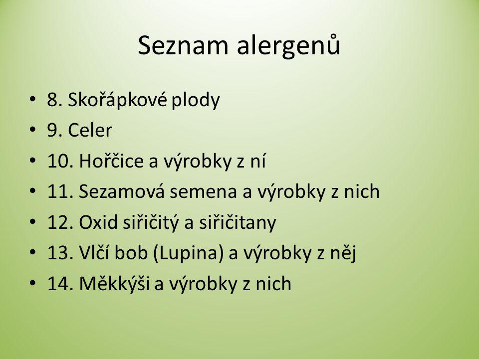 Seznam alergenů 8. Skořápkové plody 9. Celer