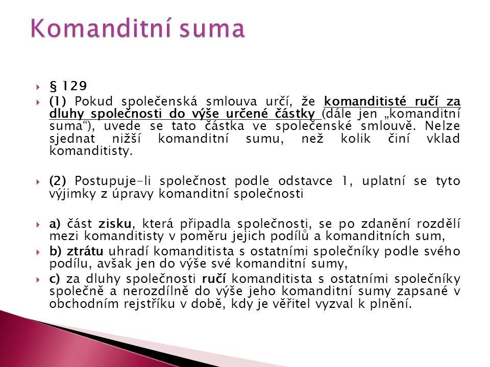 Komanditní suma § 129.
