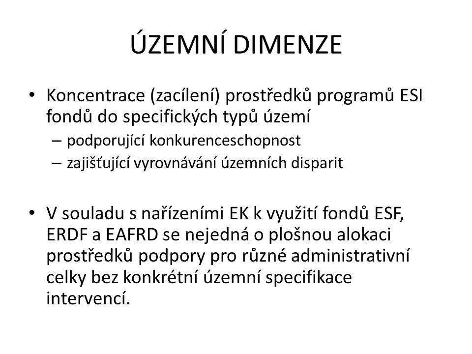 ÚZEMNÍ DIMENZE Koncentrace (zacílení) prostředků programů ESI fondů do specifických typů území. podporující konkurenceschopnost.