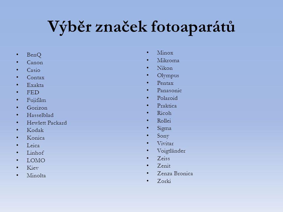 Výběr značek fotoaparátů