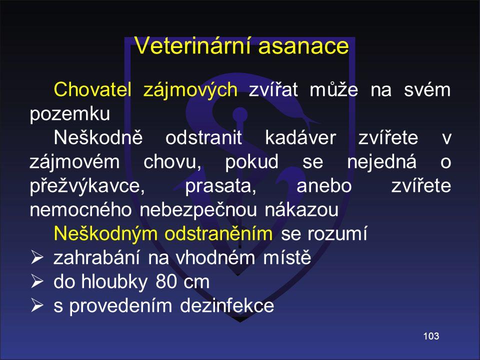 Veterinární asanace Chovatel zájmových zvířat může na svém pozemku