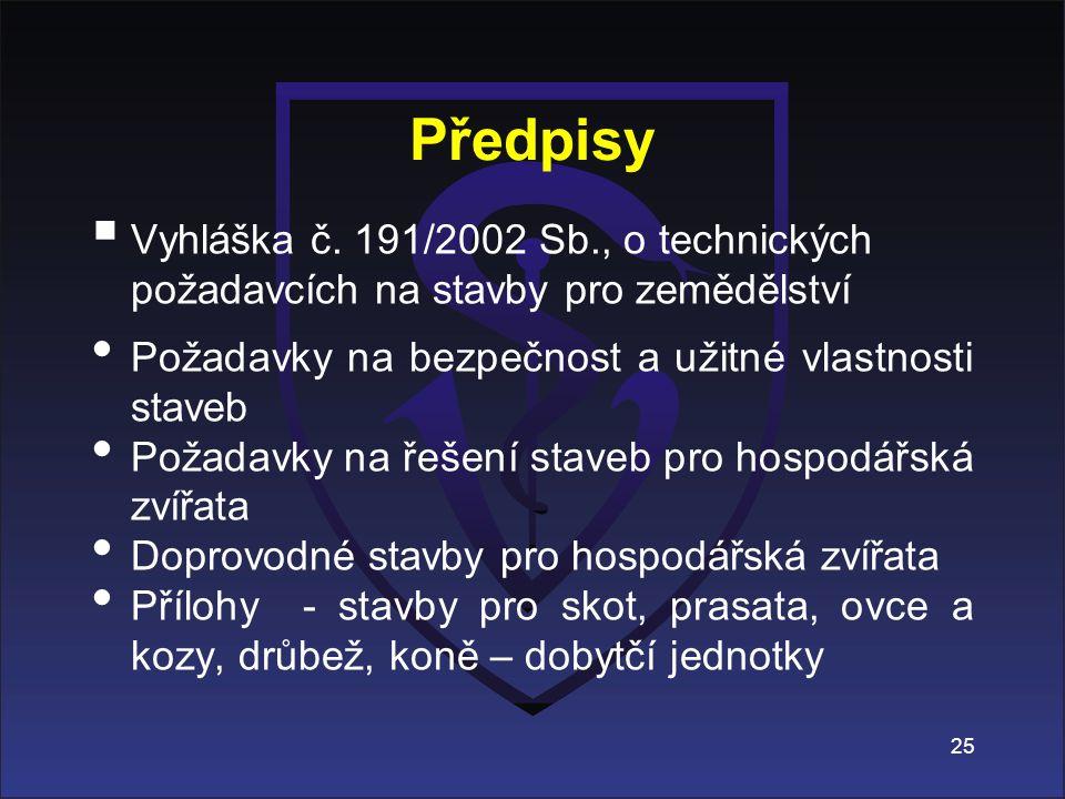 Předpisy Vyhláška č. 191/2002 Sb., o technických požadavcích na stavby pro zemědělství. Požadavky na bezpečnost a užitné vlastnosti staveb.