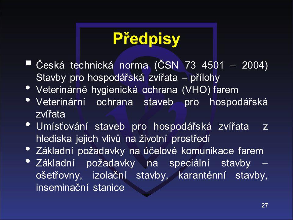 Předpisy Česká technická norma (ČSN 73 4501 – 2004) Stavby pro hospodářská zvířata – přílohy. Veterinárně hygienická ochrana (VHO) farem.