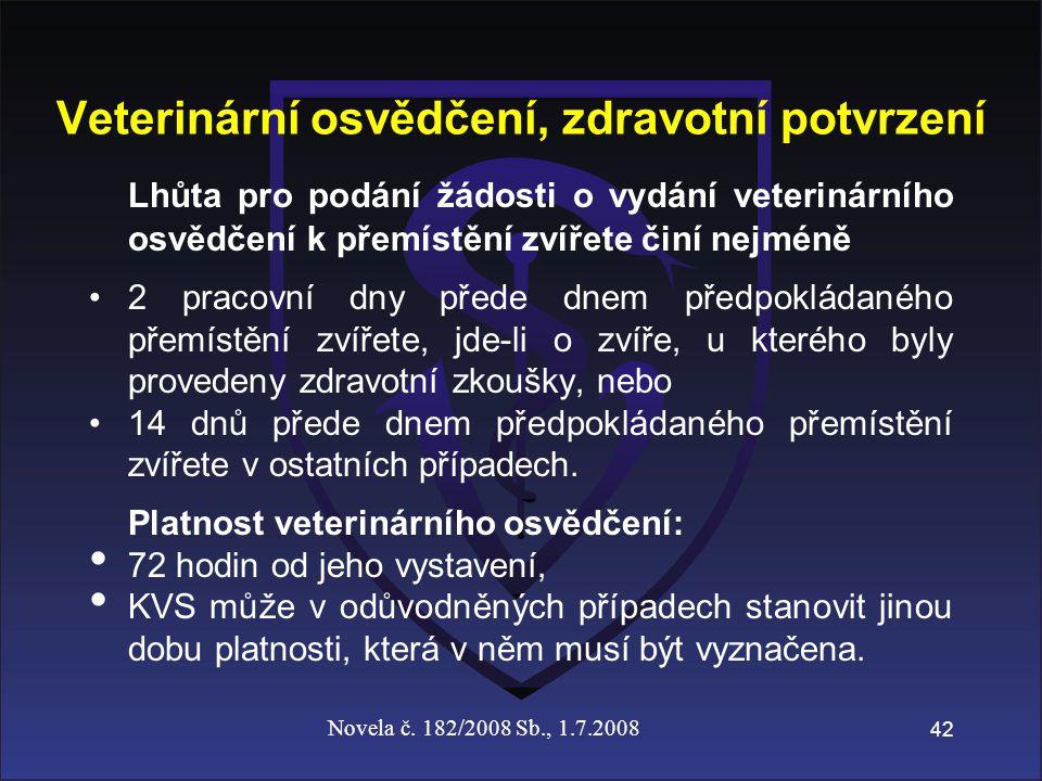Veterinární osvědčení, zdravotní potvrzení