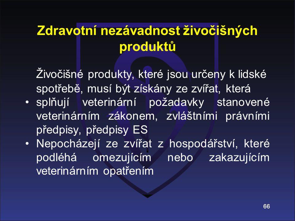 Zdravotní nezávadnost živočišných produktů