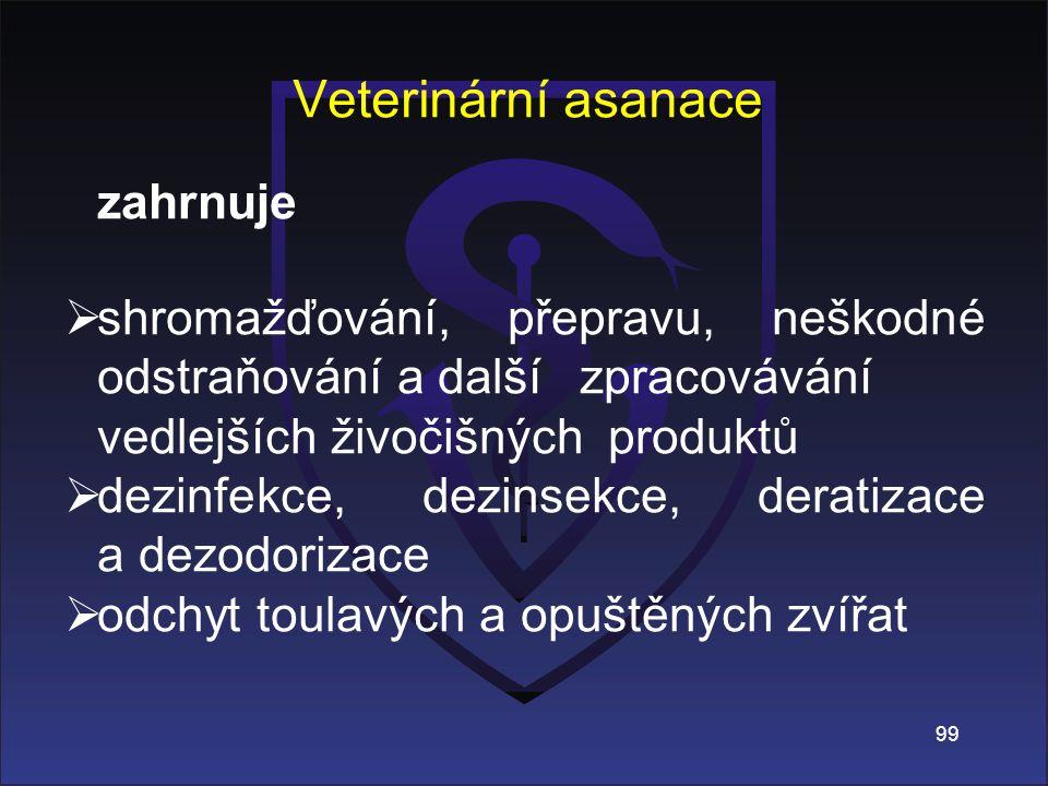 Veterinární asanace zahrnuje