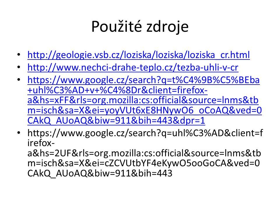 Použité zdroje http://geologie.vsb.cz/loziska/loziska/loziska_cr.html