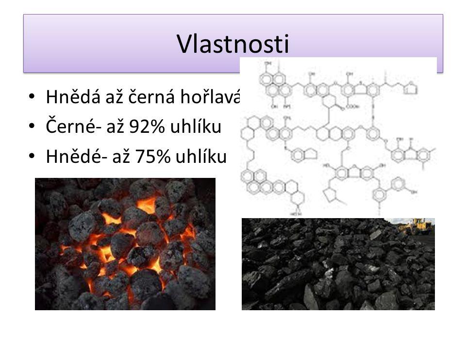 Vlastnosti Hnědá až černá hořlavá hornina Černé- až 92% uhlíku