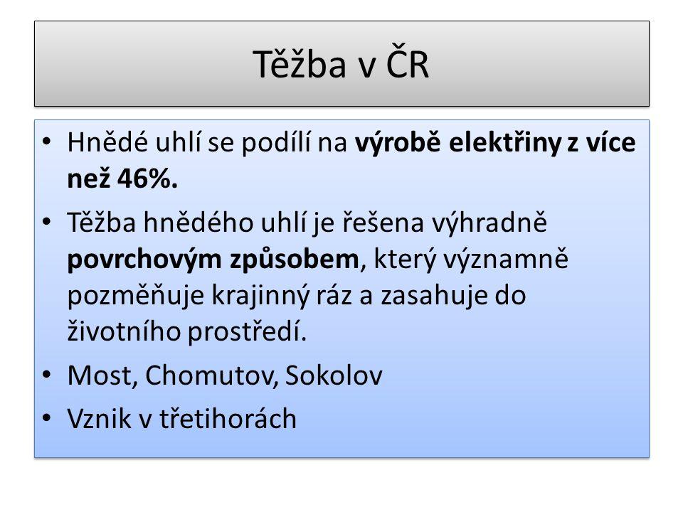 Těžba v ČR Hnědé uhlí se podílí na výrobě elektřiny z více než 46%.