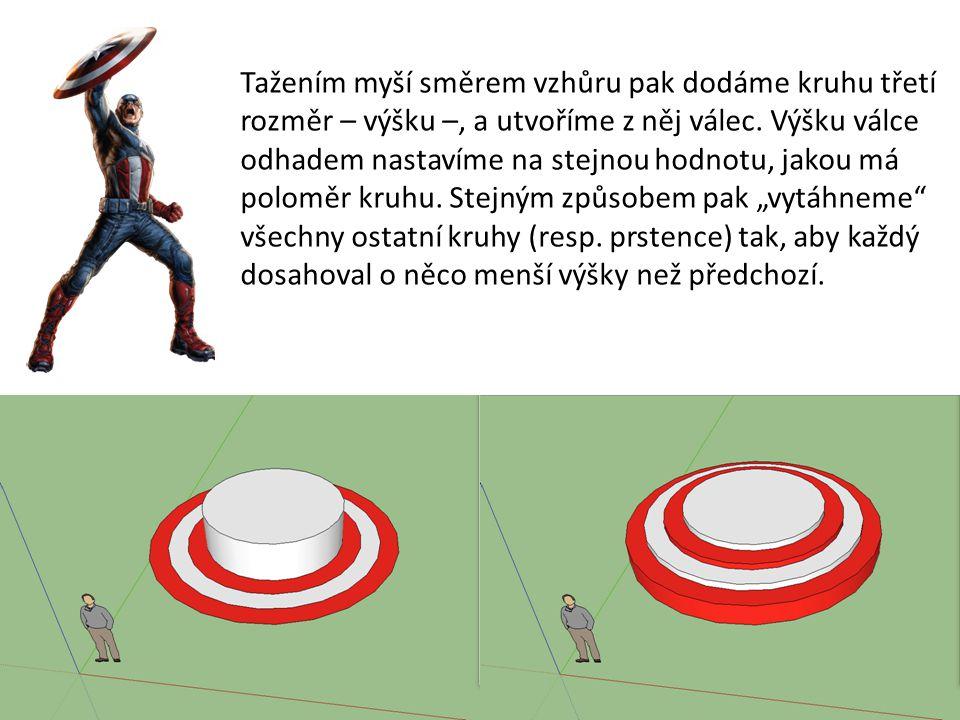 Tažením myší směrem vzhůru pak dodáme kruhu třetí rozměr – výšku –, a utvoříme z něj válec.