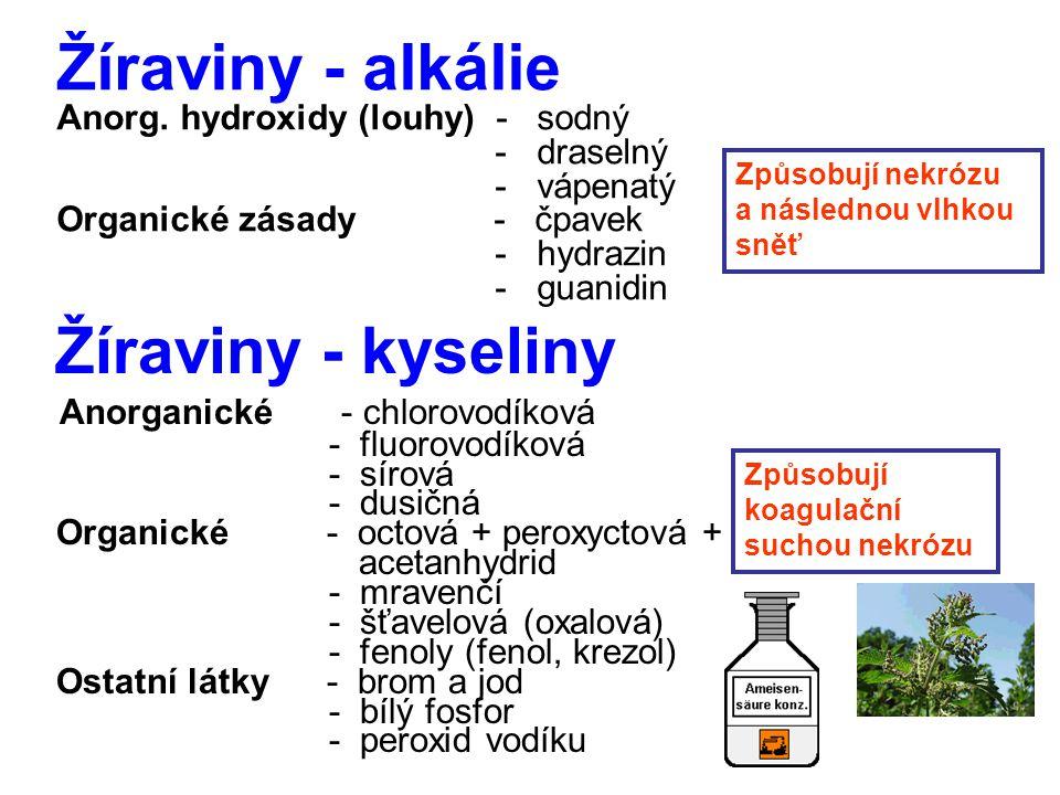 Žíraviny - alkálie Žíraviny - kyseliny Anorganické - chlorovodíková