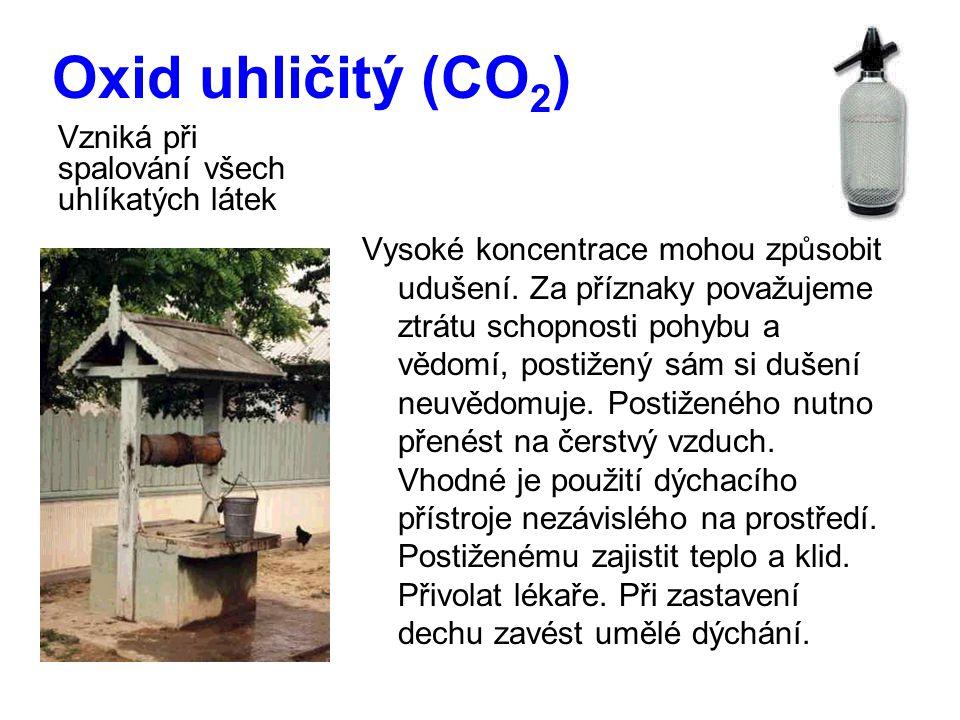 Oxid uhličitý (CO2) Vzniká při spalování všech uhlíkatých látek