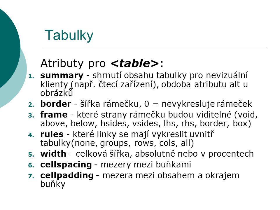 Tabulky Atributy pro <table>: