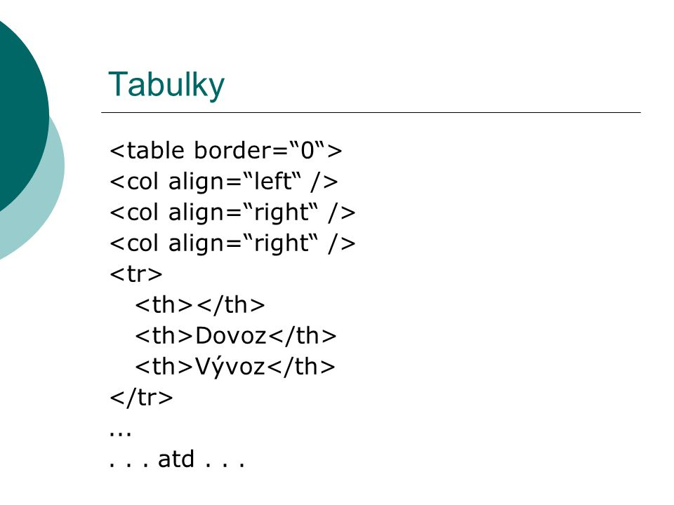 Tabulky <table border= 0 > <col align= left />