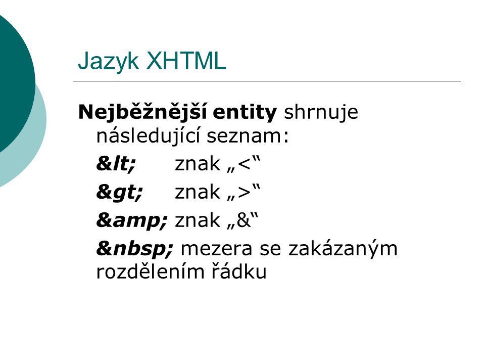 Jazyk XHTML Nejběžnější entity shrnuje následující seznam:
