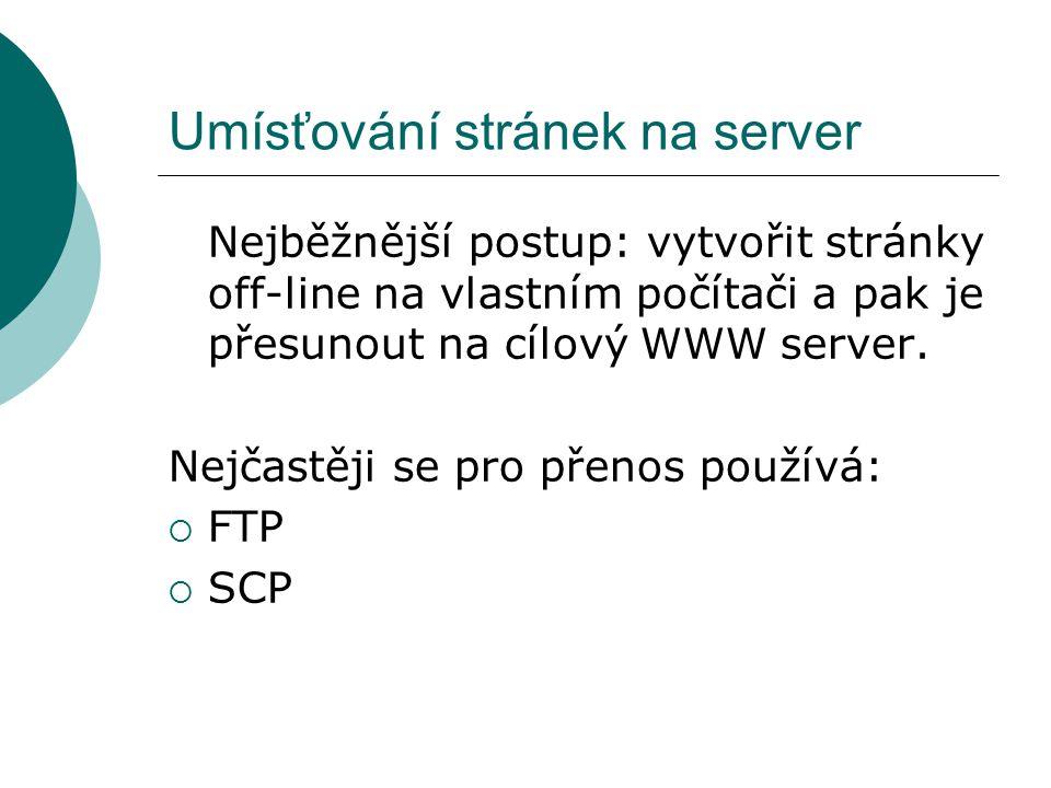 Umísťování stránek na server