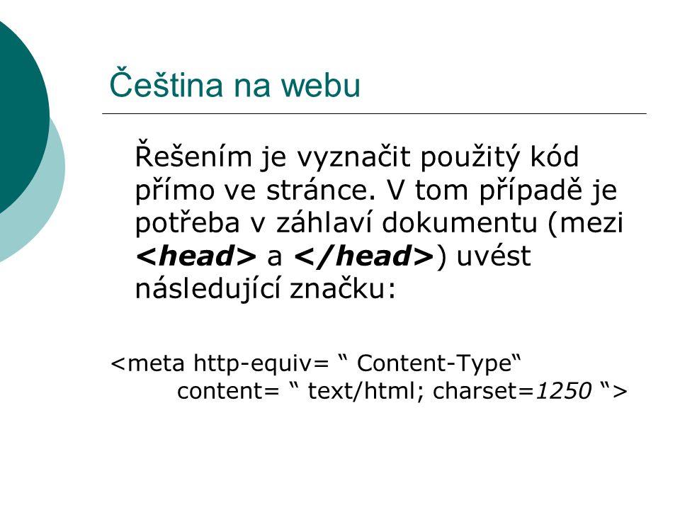 Čeština na webu