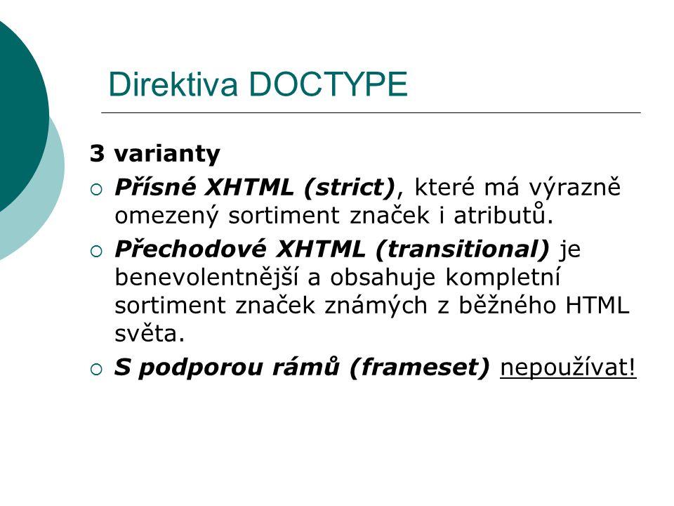 Direktiva DOCTYPE 3 varianty