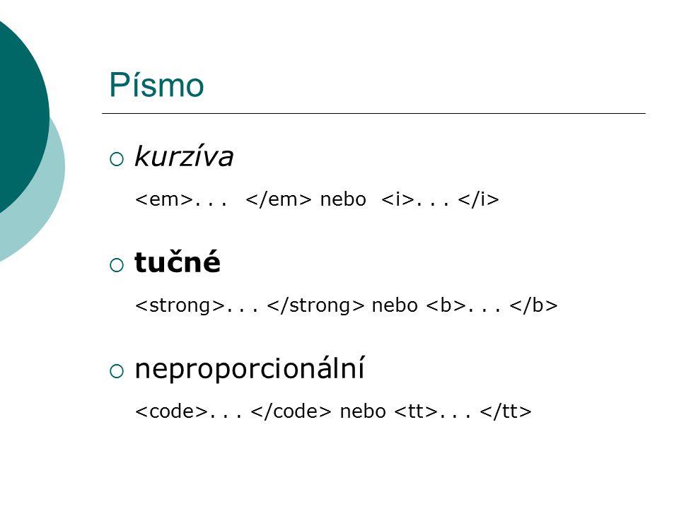 Písmo kurzíva. <em>. . . </em> nebo <i>. . . </i> tučné. <strong>. . . </strong> nebo <b>. . . </b>