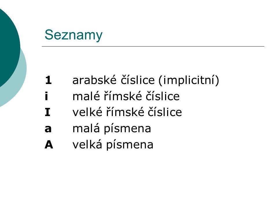 Seznamy 1 arabské číslice (implicitní) i malé římské číslice