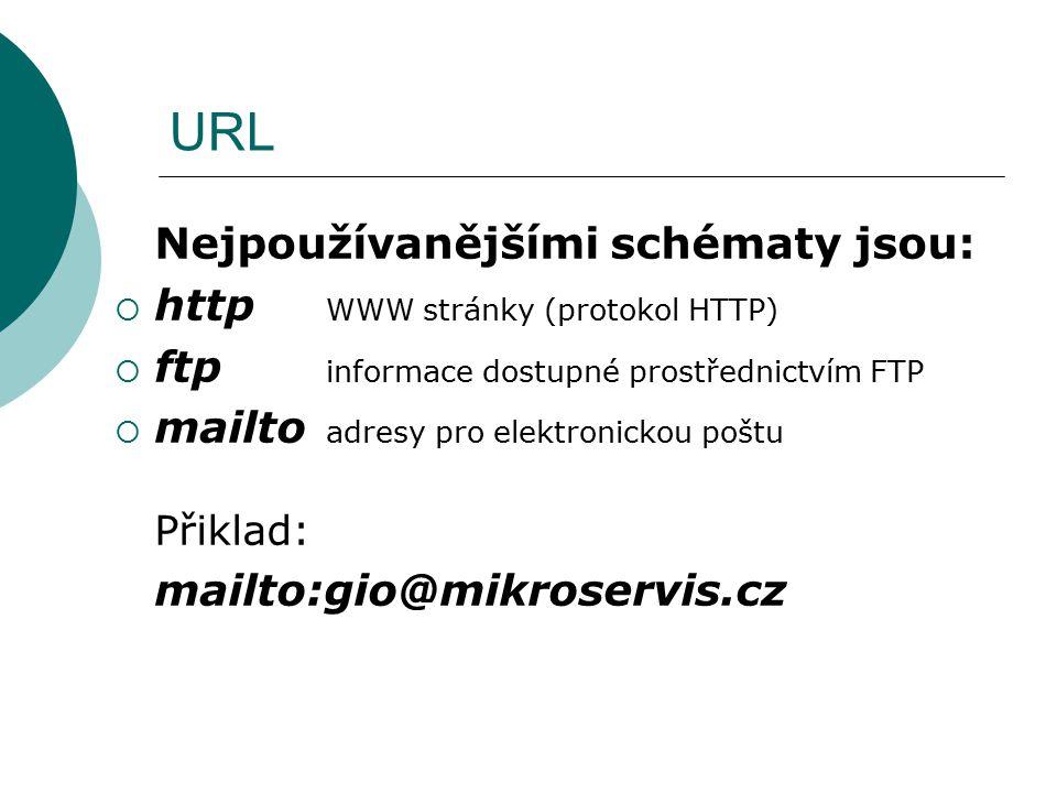 URL Nejpoužívanějšími schématy jsou: http WWW stránky (protokol HTTP)