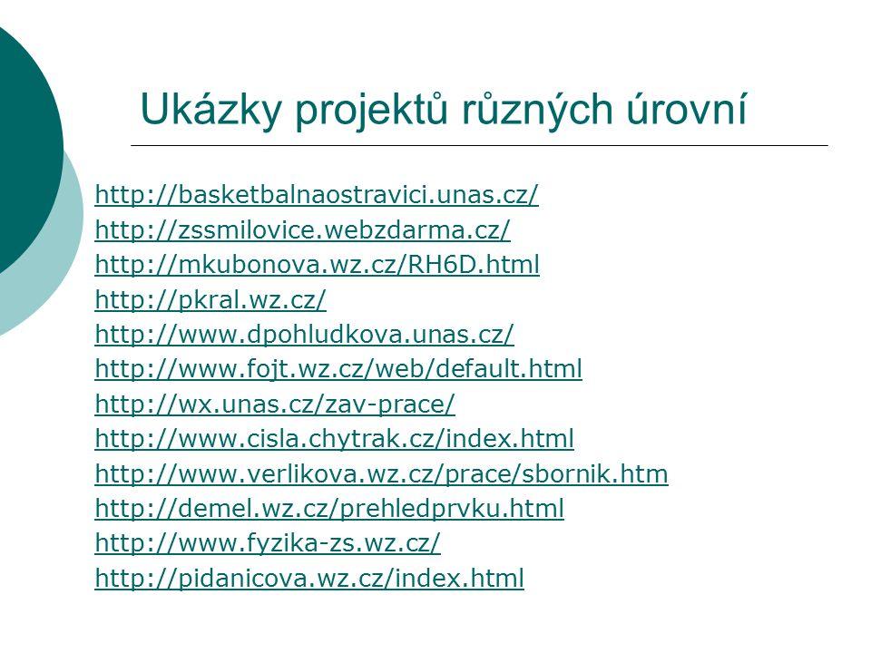 Ukázky projektů různých úrovní