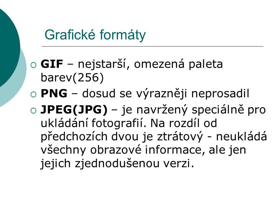 Grafické formáty GIF – nejstarší, omezená paleta barev(256)