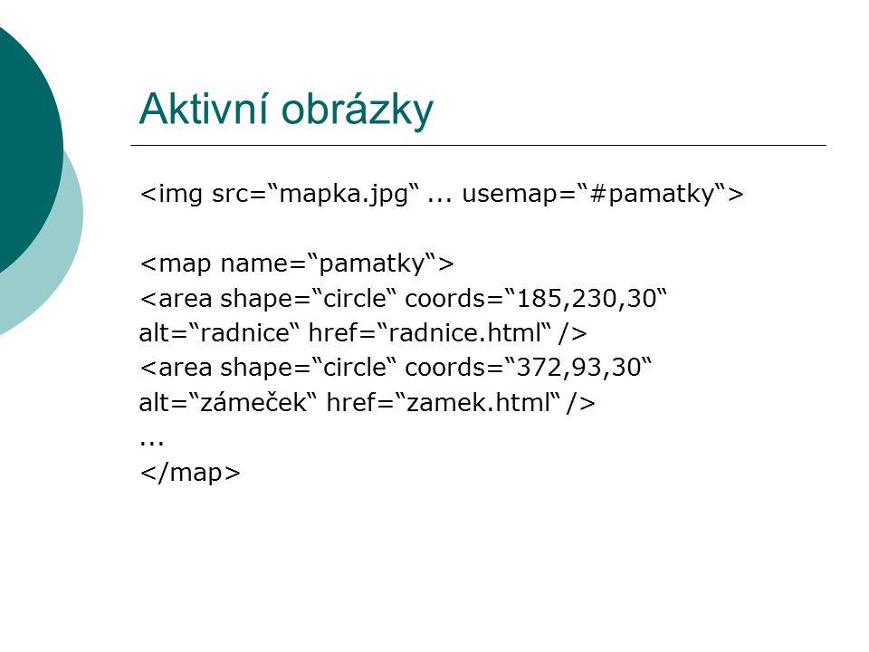 Aktivní obrázky <img src= mapka.jpg ... usemap= #pamatky >