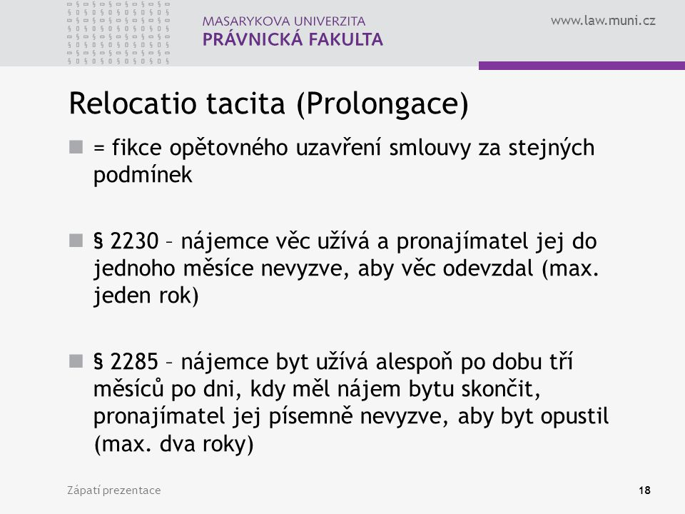 Relocatio tacita (Prolongace)