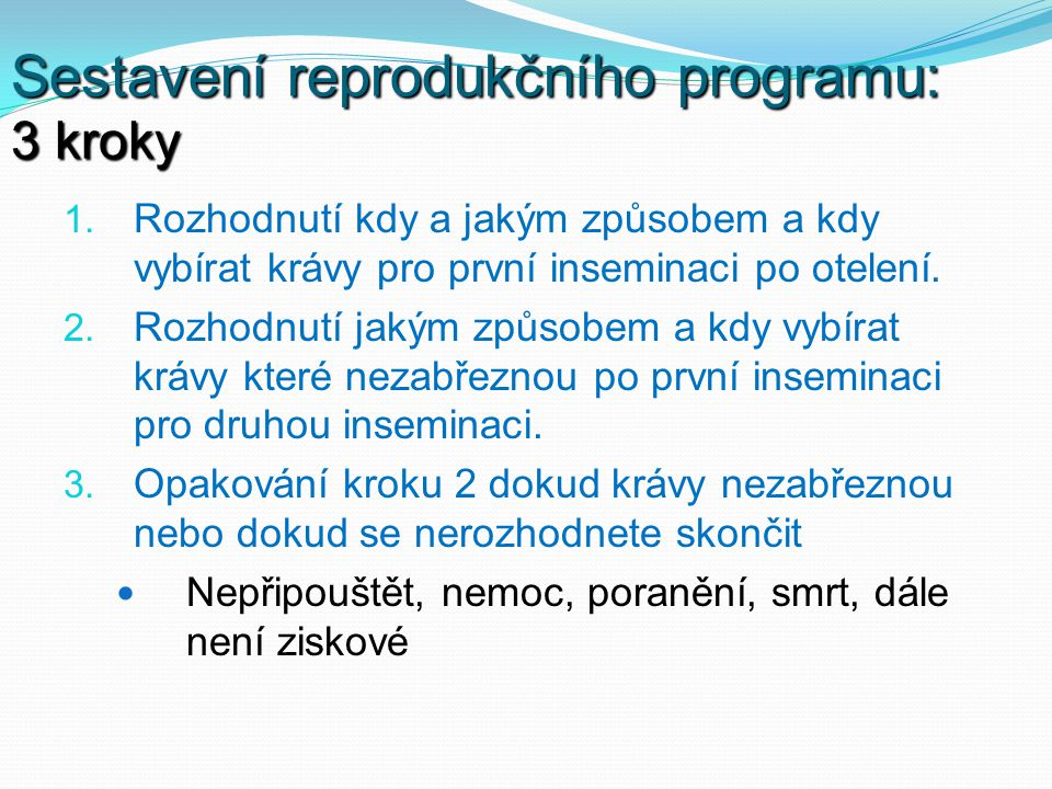Sestavení reprodukčního programu: 3 kroky