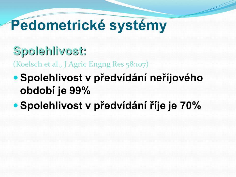 Pedometrické systémy Spolehlivost: